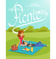 young happy couple having picnic in the park vector image