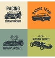 Set of car icons Motor sport car racing vector image