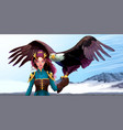 eagle trainer elf on the mountains vector image