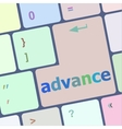 advance on computer keyboard key enter button vector image
