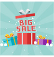 big sale gift box background image vector image