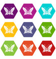 butterfly with antennae icons set 9 vector image vector image