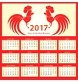 Calendar 2017 Chinese New Year of the Fire Rooster vector image vector image
