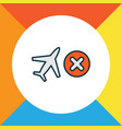 cancelled flight icon colored line symbol premium vector image vector image