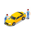 car wash worker yellow car design isolated vector image
