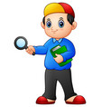 cartoon boy holding a magnifying glass and books vector image
