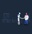 casual man handshaking with robot agreement vector image