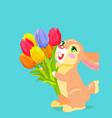 cute bunny holding bouquet of tulip cartoon vector image vector image