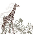 detailed giraffe animal in engraved style vector image vector image