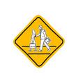 drawing yellow school road warning sign vector image vector image