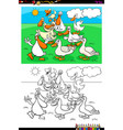 ducks farm animal characters group color book vector image vector image