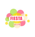 fiesta original design logo label with colorful vector image