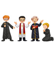 Four characters of priests vector image