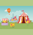 fun fair carnival tent booth ice cream food city vector image vector image