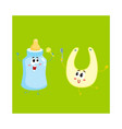 Funny milk bottle and baby bib characters child