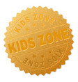 golden kids zone medallion stamp vector image vector image