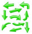 green bold arrows 3d shiny signs vector image vector image
