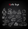 hand draw kids toys set in doodle style vector image vector image
