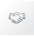 handshake icon line symbol premium quality vector image