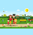 happy family in park spring landscape vector image vector image
