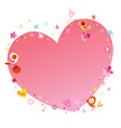 heart frame with flowers and birds vector image vector image