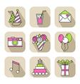 Holiday flat icons happy birthday set vector image vector image