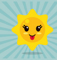 kawaii sun out tongue vector image vector image
