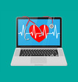laptop heart shape with pulse line stethoscope vector image vector image