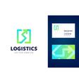 logistics logo and business card template vector image