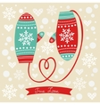 Love mittens with rope in a form of heart vector image