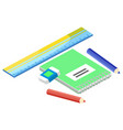 notepad and office stationery isometric vector image vector image