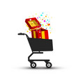 open gift box confetti in shopping cart vector image vector image