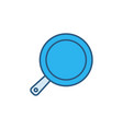 pan concept blue icon - frypan colored sign vector image