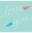 Pink and blue origami paper planes Dash line text vector image