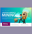 process of crypto currency mining flat poster vector image vector image