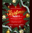 red christmas party invitation with gold ornaments vector image