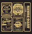 retro car service and garage labels design vector image vector image