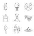 rubber icons set outline style vector image vector image