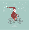 santa is going bicycle greeting card vector image vector image