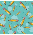 Seamless cartoon pattern with cool pencils vector image