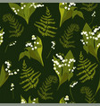 seamless pattern with lilies valley vector image