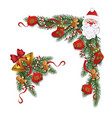 set christmas winter wreaths or borders flat vector image vector image