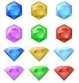 set colorful gemstones vector image
