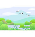 simple spring landscape with flying japanese vector image vector image