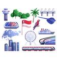 singapore cartoon icons set vector image vector image
