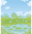 small pond on a green meadow vector image