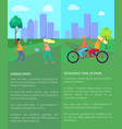 spending time in urban park posters with text vector image vector image