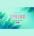 spring sale background banner with fantasy leaves vector image vector image