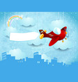 surreal skyline with hanging clouds airplane and vector image