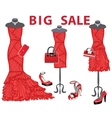 Three red coctail dresses with accessoriesBig vector image